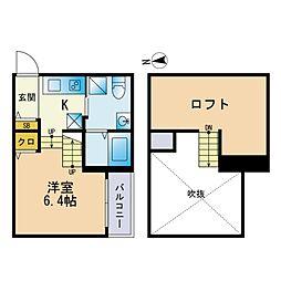 フェリス名島 2階ワンルームの間取り