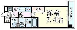 Luxe江坂II 7階1Kの間取り