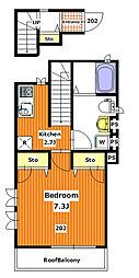 東京メトロ南北線 本駒込駅 徒歩8分の賃貸アパート 1階1Kの間取り
