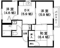 滋賀県東近江市伊庭町の賃貸アパートの間取り