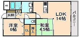 兵庫県伊丹市平松2丁目の賃貸マンションの間取り