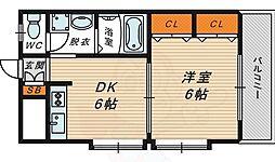 D-HOUSE 5階1DKの間取り