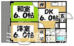 福岡県大野城市下大利4丁目の賃貸アパートの間取り