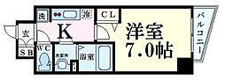 Osaka Metro谷町線 中崎町駅 徒歩7分の賃貸マンション 5階1Kの間取り