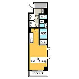 (仮称)元今泉マンション 2階1Kの間取り