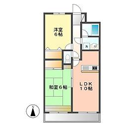 愛知県北名古屋市井瀬木居屋敷の賃貸アパートの間取り