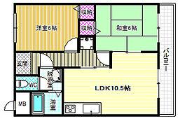玉手山ハイツ1号館[3階]の間取り