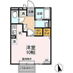 徳島県徳島市昭和町7丁目の賃貸アパートの間取り