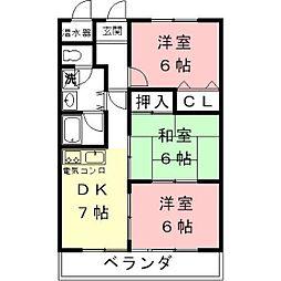 リリカルホリエ[2階]の間取り