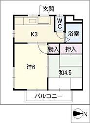 ドリームコーポ永井[2階]の間取り