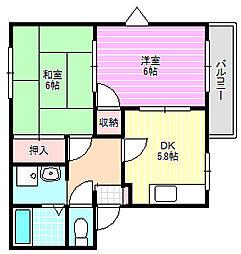 ハイツヒミコA棟[1階]の間取り