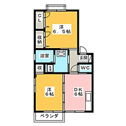 サニーインテル C棟[2階]の間取り