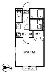 神奈川県横浜市金沢区泥亀1丁目の賃貸アパートの間取り