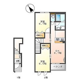 ハイツ江昭 A棟[2階]の間取り