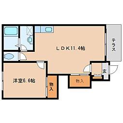 近鉄田原本線 池部駅 徒歩9分の賃貸アパート 1階1LDKの間取り