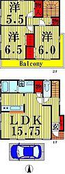 [一戸建] 東京都足立区千住仲町 の賃貸【東京都 / 足立区】の間取り