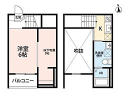 JR中央本線 新守山駅 徒歩5分の賃貸アパート 2階1Kの間取り