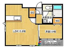 JR鹿児島本線 千鳥駅 徒歩10分の賃貸マンション 5階1LDKの間取り