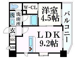 阪急神戸本線 春日野道駅 徒歩7分の賃貸マンション 5階1LDKの間取り