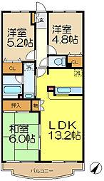 洋光台山の手マンション[3階]の間取り