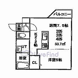 札幌市営東豊線 美園駅 徒歩8分の賃貸マンション 4階1DKの間取り