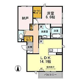 大阪府大阪市平野区加美北4丁目の賃貸アパートの間取り