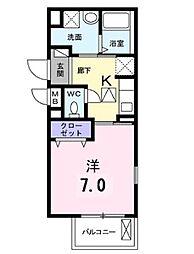 JR横浜線 橋本駅 徒歩13分の賃貸アパート 2階1Kの間取り