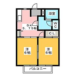 ルミエール四本松[2階]の間取り