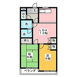 シャルムK[2階]の間取り