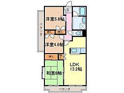 静岡県富士市水戸島本町の賃貸マンションの間取り