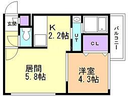 erys南7条(エリーズ南7条) 3階1LDKの間取り