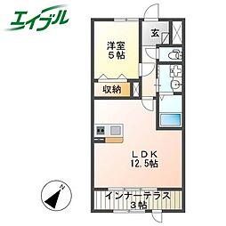 近鉄大阪線 名張駅 徒歩15分の賃貸アパート 1階1LDKの間取り