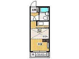 シャンブル武蔵台[1階]の間取り