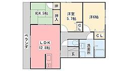 福岡県久留米市高良内町の賃貸マンションの間取り