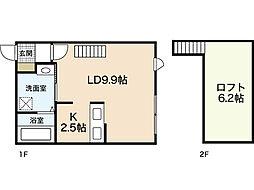 アメニティ江波 2階ワンルームの間取り