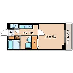 JR関西本線 奈良駅 徒歩8分の賃貸アパート 3階1Kの間取り