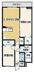 アジュール京田辺 II 2階2LDKの間取り