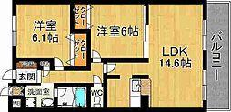奈良県奈良市西大寺宝ヶ丘の賃貸マンションの間取り