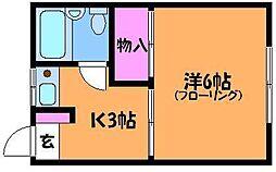 東京都調布市菊野台1丁目の賃貸アパートの間取り