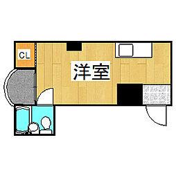 Osaka Metro谷町線 野江内代駅 徒歩4分の賃貸マンション 2階ワンルームの間取り