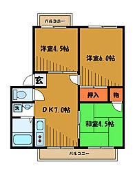 東京都小金井市貫井南町の賃貸マンションの間取り