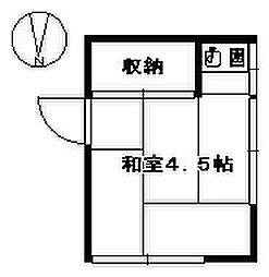 田中荘 2階ワンルームの間取り