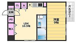 ブランカ堺東 3階1LDKの間取り