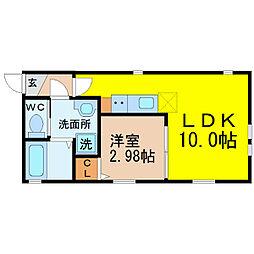 名古屋市営鶴舞線 鶴舞駅 徒歩9分の賃貸アパート 4階1LDKの間取り