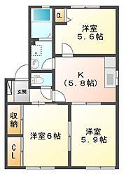 パル B[1階]の間取り