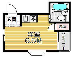 Osaka Metro谷町線 大日駅 徒歩14分の賃貸マンション 2階ワンルームの間取り