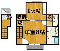 八番館 2階1DKの間取り