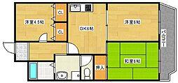 大阪府大阪市西成区岸里東2丁目の賃貸マンションの間取り