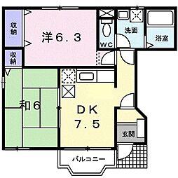 東京都町田市木曽西5の賃貸アパートの間取り