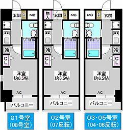エステムコート難波WEST-SIDEIVザ・フォース[702号室]の間取り